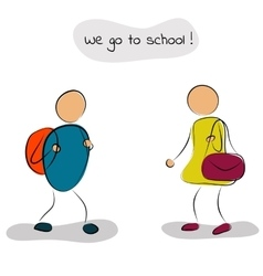 Boy and girl go to school vector