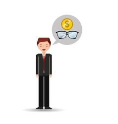 Business man cartoon and glasses money vector