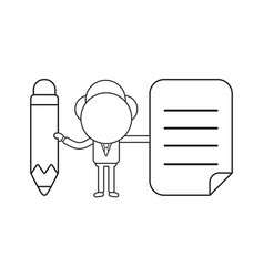 businessman character holding pencil and written vector image