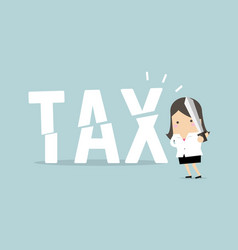 businesswoman cut tax with sword business concept vector image