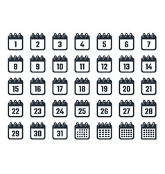 calendar icons with dates from 1 to 31 vector image