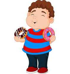 Cartoon boy eating donuts vector