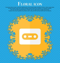 Cassette Floral flat design on a blue abstract vector image