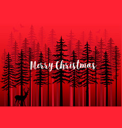Christmas card with winter forest vector