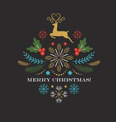 Christmas deer merry christmas greeting card vector