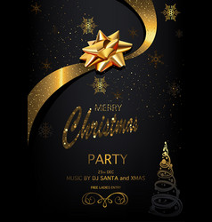 christmas party invitation on black background vector image