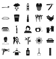 Clean icons set simple style vector