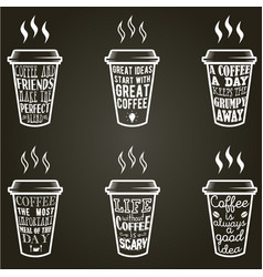 Coffee quotes and sayings typography set vector