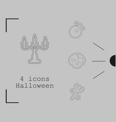 Collection of 4 halloween icons in thin line style vector