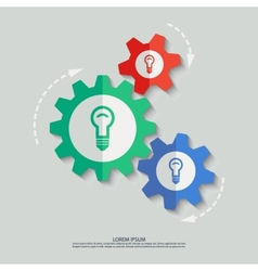 color cogwheels with lamp icons vector image