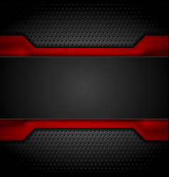 contrast red and black tech design on dark vector image