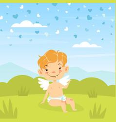 cute baangel sitting in summer meadow adorable vector image