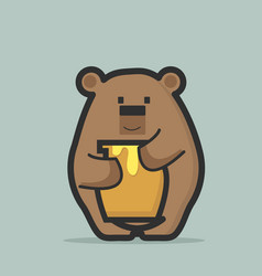 cute bear holding bee honey jar vector image