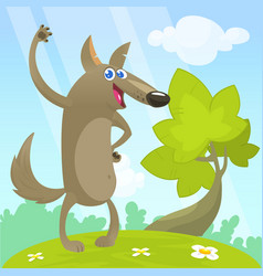 cute cartoon funny wolf vector image