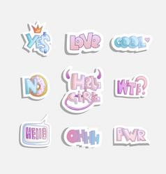 Cute cartoon set of fashion girly phrases vector