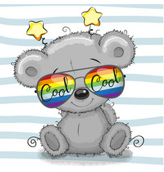 cute teddy bear with sun glasses vector image