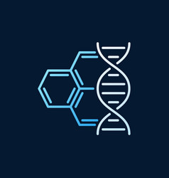dna with molecule colored outline icon vector image