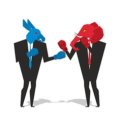 Donkey and elephant are boxing democrat vector