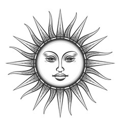 Engraved sun antique face symbol vector