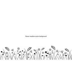 Flower meadow line border isolated on white vector