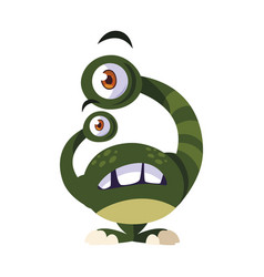 Funny monster with bulging eyes comic character vector