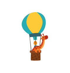 Giraffe riding a hot air balloon cute animal vector