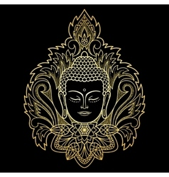 Gold Buddha Head on Floral Background vector