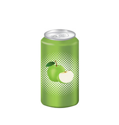 green apple juice can vector image