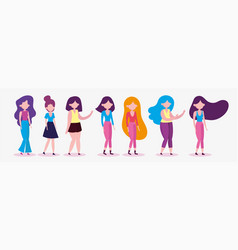 group women standing characters on white vector image