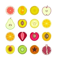 Halves Of Fruit Set vector image
