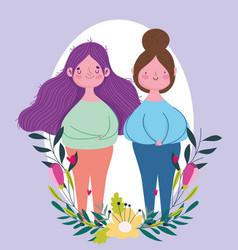 happy mothers day cartoon women flowers vector image