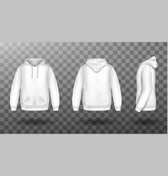 Hoody white sweatshirt mock up front and back set vector