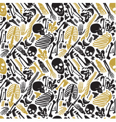 human skeleton halloween black golden vector image