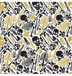 Human skeleton halloween black golden vector