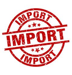 Import round red grunge stamp vector
