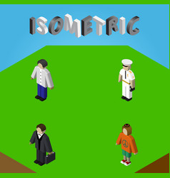 Isometric person set of male lady investor and vector
