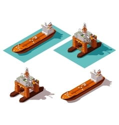 isometric tanker and oil rig vector image