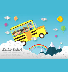 kids on school bus education concept vector image