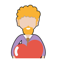 Man with beard and heart in the hands vector