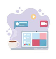 meeting online laptop computer coffee cup video vector image