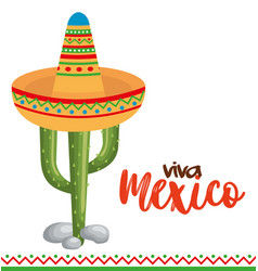 mexican culture cactus with hat vector image