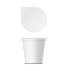 mockup plastic yogurt container with lid vector image