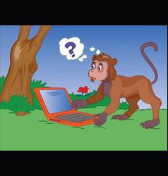 Monkey using a notebook vector