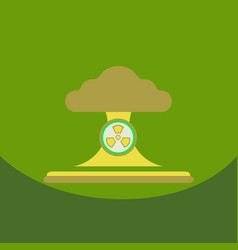 Nuclear bomb explosion in eco style vector