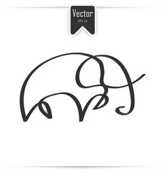 one line elephant design silhouette vector image
