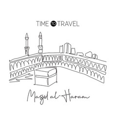 One single line drawing masjid el haram landmark vector