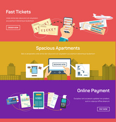 online payment for flight tickets or apartment vector image