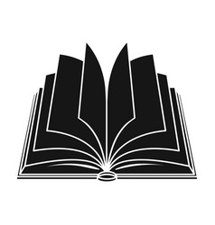 opened book icon in black style isolated on white vector image