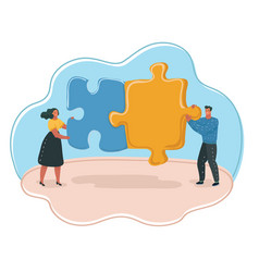 People hold puzzle pieces vector