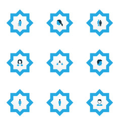 people icons colored set with female social vector image